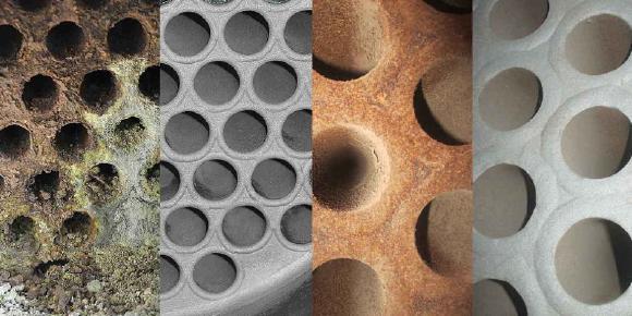 Rohrbündelwärmetauscher vor und nach der Reinigung mit dem TubeMaster-System