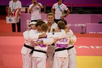 Das deutsche Judoka-Team, Gewinner der Bronzemedaille im Teamwettkampf mit den Potsdamern Maximilian Schubert und Martin Setz / Foto: adh/Arndt Falter