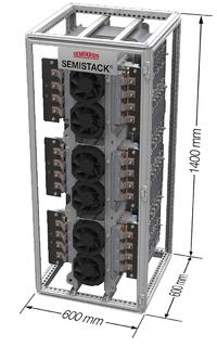 Die leistungselektronische Systemplattform Semistack mit den SKiiP intelligenten Powermodulen ist optimiert für Anwendungsbereiche,die von Solarwechselrichtern für 450 kW bis zu Synchrongeneratoren SG mit 2,5 MW für Windkraftanlagen reichen