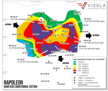 Vizsla expands Napoleon further towards surface, to depth and to the North at Panuco Project, Mexico