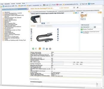Auswahl einer Energieführungskette für kreisförmige und spiralförmige Bewegungen über das Portal TracePartsOnline.net