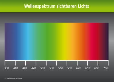 Wellenspektrum sichtbaren Lichts. © Hohenstein Institute