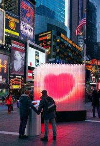 Times Square Alliance, BIG, Flatcut, Local Projects and Zumtobel celebrate the Valentine's Day with an interactive heart installation at Times Square, New York; © David Sundberg/Esto