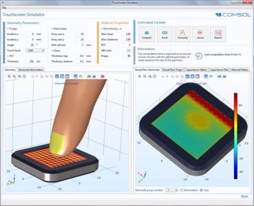 Simulations-App basierend auf dem Modell eines kapazitiven Touchscreen. Der Anwender kann Position und Orientierung eines auf den Touchscreen drückenden Fingers steuern und anschließend die Kapazitätsmatrix berechnen