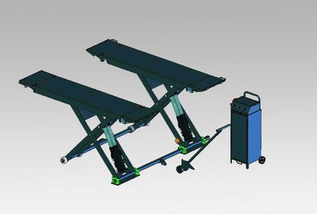 Mobile Kurzhub-Scherenhebebühne SOLO III 2.5 M als Weiterentwicklung des früheren Typs SOLO II 2.5 M. Dargestellt im Hubzustand, mit Hydraulikaggregat und ein- bzw. aushängbarer Deichsel mit Tragrollenzum manuellen Transport der Bühne.