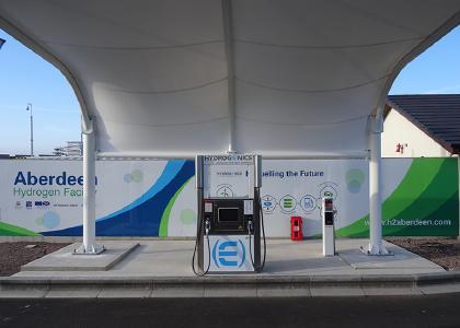 Eine Hydrogenics Wasserstoffzapfsäule in Aberdeen