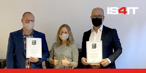 Quelle IS4IT: Robert Fröhlich (Geschäftsführer IS4IT GmbH), Marina Baudrexel (Recruiting) und Roland Dirscherl (Geschäftsführer IS4IT GmbH) (von links)