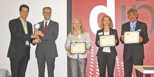 A brace of CIPPI Awards for Print Plaza: Ingo Nowak of Köller & Nowak, Albert Contzen of Wolf & Sohn, Ursula Voss-Eiden of Kodak, Karola Thews of Hiflex and Roland Kastner of KBA Complete (l-r) pictured at the presentation