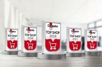 Auch 2019 darf sich diedruckerei.de über die Auszeichnung TOP SHOP freuen. Zum fünften Mal in Folge hat die Onlinedruckerei ihre Kunden überzeugt. Copyright: Onlineprinters GmbH