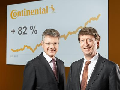 Dr. Elmar Degenhart, CEO Continental AG, and Wolfgang Schäfer, CFO Continental AG, presented on March 6, 2014 in Frankfurt/Main, Germany, not only preliminary figures for fiscal 2013 but also pointed out that in 2013 the Continental shares were at the top of the DAX for the second time in a row with a share price increase of 82 percent