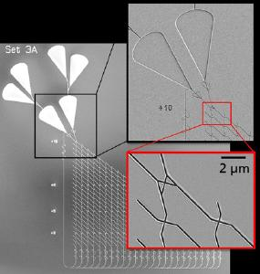 Scanning electron micrograph of a nanofabricated channel network on three size scales. Channel structures and junctions are as narrow as a few hundred nanometers. They are written by electron beam nanolithography and other advanced patterning technologies and coated with molecular motorproteins that guide mobile biomolecules as computation though the channels. The biocompution network fabricated this way will be used to solve mathematical problems © Photo Cornelia Kowol/Fraunhofer ENAS