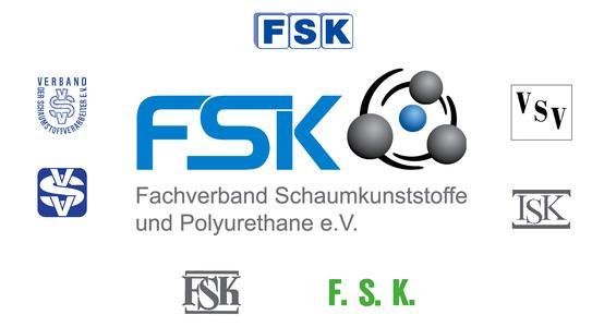 Das neue und die alten Logos des FSK -Fachverband Schaumkunststoffe und Polyurethane e.V.