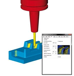 3D residual stock: Optimised complete machining for roughing (Image source: OPEN MIND)