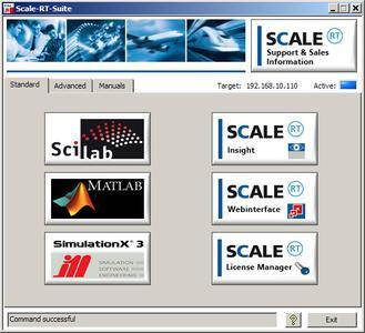 SCALE-RT Suite Startfenster – eine Kommandozentrale für den leichten Einstieg in die Echtzeitsimulation mit SCALE-RT