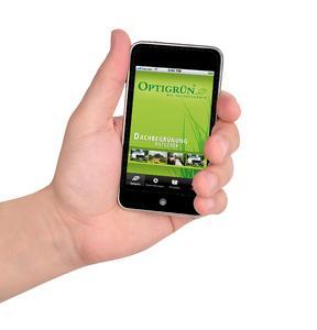 iPhone mit Dachbegrünungs-App von Optigrün