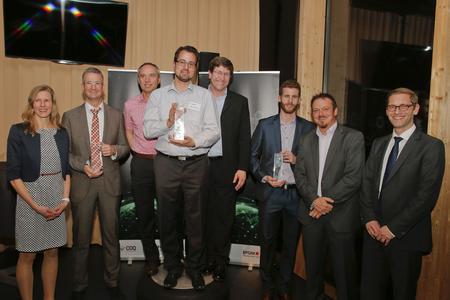 All finalists: Anja Tilinski, Henning Dicke (both Bayer), Dr. Jochen Kokemüller, Matthias Dod, Klaus Pfreundner (all Robert Bosch GmbH), Gabriel Bracher and Roger Kipfer (both Swisscom) together with and Prof. Dr. Boris Otto (Head of the CC CDQ)