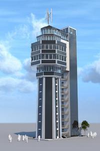 Computeranimation des Aquaturms mit Solarpaneel-Fassade und Windturbine. (Foto: Räffle)