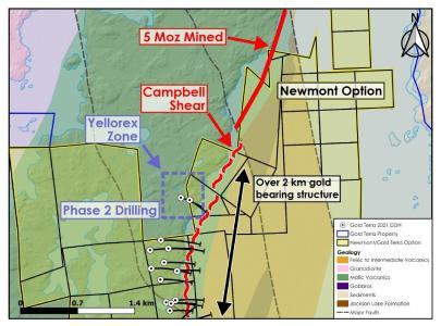 Figure 1: Phase 2 drilling at Yellorex Zone.