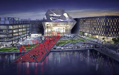 """Visualisierung des """"Le Meridian"""", dem 5-Sterne-Plus-Hotel, in der irischen Hauptstadt Dublin / Foto: Rasselstein Raumsysteme GmbH & Co KG"""