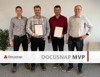 itelio-Geschäftsführer Ingemar Mayr, die Docusnap MVPs Oliver Hepp und Frank Oehlschlägel sowie itelio-Geschäftsführer Peter Kurz bei der Auszeichnung.