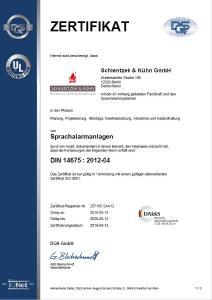 Zertifiziert für Sprachalarmanlagen nach DIN 14675
