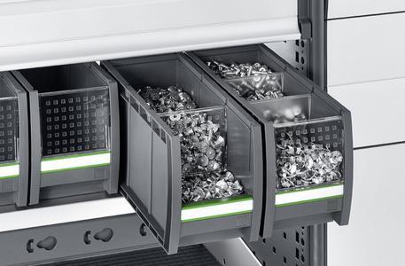 Die bottBox als Schublade in der bott vario Fahrzeugeinrichtung.