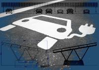 Solar Carports mit Stromspeicher als Solartankstelle für Elektroautos – Bild: Xpert.Digital & oreimages|Shutterstock.com