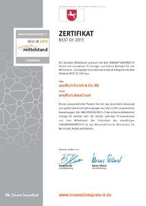 """Mit der Zertifizierung als """"BEST OF 2013"""" wird die Qualität des neuen Serviceangebotes unterstrichen"""