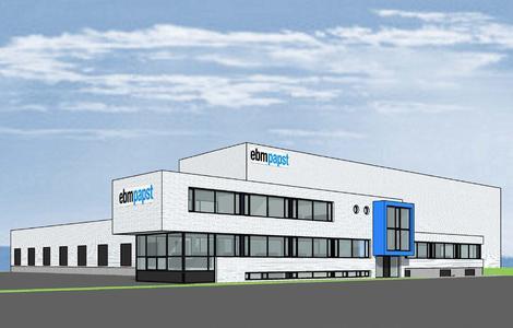 Planungsansicht des neuen ebm-papst Logistikzentrums