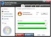 Screenshots der ByteDefender-Website, orientiert an dem Layout von BitDefender