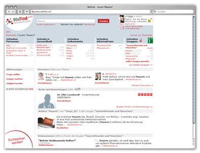 Die WeFind Suche. Das Besondere: die Suchverfeinerung, denn man für den eingegebenen Suchbegriff verschiedene Themen die Suche präzisieren.