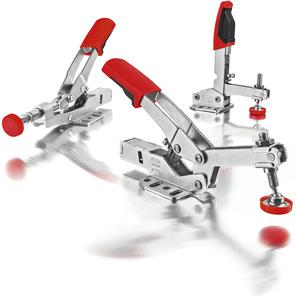 Range toggle clamps for multifunction tables