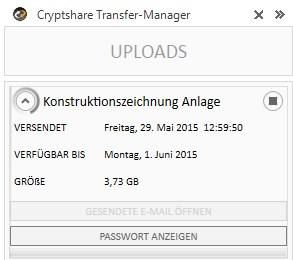 Der Upload-Manager zeigt den Status des Transfers