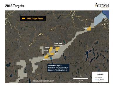 Darstellung der regionalen Zielzonen, die anhand der Geschiebemergelproben aus der hochauflösenden Messung auf ihren Goldgehalt untersucht wurden