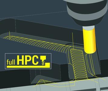 COSCOM Full HPC-Technologie: Bis zu 60% weniger Schruppbearbeitungszeit am Bauteil durch höhere Schnittleistung und bis zu 300% höhere Werkzeugstandzeiten durch optimalen Schneideneingriff.