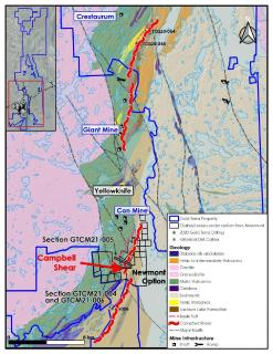 Gold Terra Intersects 5.77 g/t of gold over 12.35 metres (including 14.09 g/t over 4.65 metres)  extending gold mineralization in the Campbell Shear, Newmont Option, Yellowknife, NWT