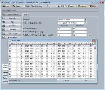 eAssistant software: Dimensioning function in cylindrical gear pair calculation module