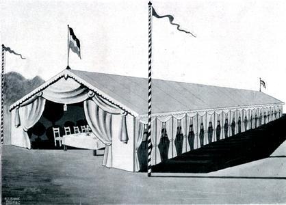 """Ein Losberger """"Bierzelt"""" aus den Jahren vor der Gründung der Bundesrepublik. Die Zelthallen wurde damals mit zwei verschiedenen Gerüstkonstruktionen und in verschiedenen Breiten gebaut. Großer Wert wurde auch schon auf die dekorative Ausstattung gelegt"""