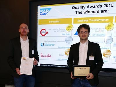 Feierliche Preisübergabe der SAP Quality Awards 2015 in drei Kategorien an die besten SAP Implementierungsprojekte des vergangenen Jahres: Zu den Gold-Preisträgern gehörte neben der Versorgungsanstalt des Bundes und der Länder, und der Heidelberger Leben Gruppe die Gebhardt Fördertechnik GmbH