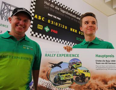 "Thomas Kraiczok (right), winner of the ""Schaeffler Rally Experience"" at the Frankfurt Motor Show 2013, will accompany Armin Schwarz's (left) team during the Baja 1000, famous as the toughest desert rally on the globe"