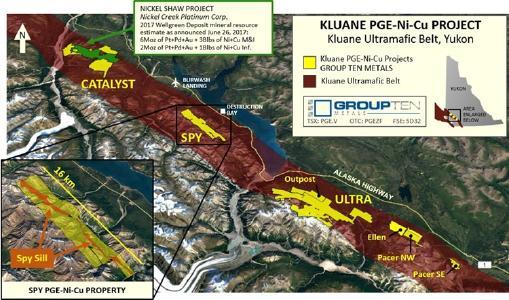 Das PGE-NI-CU-Projekt Kluane von Group Ten im Ultramafitgürtel Kluane