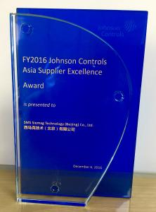 """The """"Asia Supplier Excellence Award"""" presented to SMS group by Johnson Controls Power Solutions"""