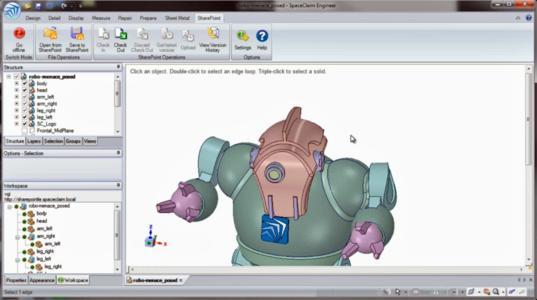 Microsoft Sharepoint bietet grundlegendes Check-in und Check-out für Arbeitsgruppen und Versionierung von SpaceClaim-Dokumenten, einschließlich Unterstützung für externe Abhängigkeiten, Teile, Baugruppen, Zeichnungen und 3D-Markups.