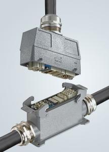 Die Produkte für die Baugröße Han® L32 B mit Tüllen- und Anbaugehäusen, Han® E Kontakteinsätzen und Gelenkrahmen