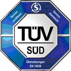 Siegel TÜV SÜD für Zertifizierung nach DIN EN 15038 und ISO 9001:2008