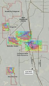 Plan view of Crawford, Kingsmill, Nesbitt-Aubin, Nesbit North, MacDiarmid, Mahaffy-Aubin and Bradburn/Dargavel Properties, Ontario