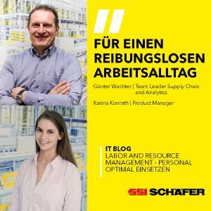 Günter Wachter, Team Leader Supply Chain and Analytics & Karina Konrath, Product Manager bei SSI Schäfer