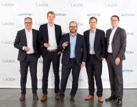 Satisfied faces at the contract signing in Lauda-Königshofen: The COO of LAUDA, Dr. Marc Stricker, the CEO of watttron, Marcus Stein, the President and CEO of LAUDA, Dr. Gunther Wobser, the Head of Production (CPO) of watttron, Ronald Claus von Nordheim and the CFO of LAUDA, Dr. Mario Englert.Source: LAUDA DR. R. WOBSER GMBH & CO. KG