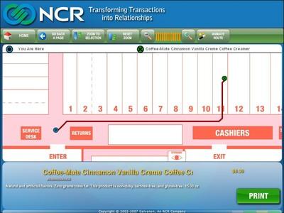 Die NCR WayFinding Software zeigt Verbrauchern den schnellsten Weg zu einem Produkt und beschreibt, in welchem Bereich, Gang und Regal sich die Ware befindet