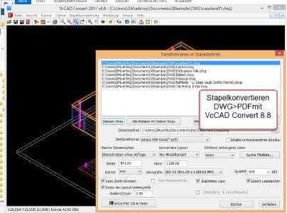 VcCAD Convert zeigt das Stapel-Konvertieren